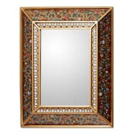 Handmade Flowers On Gold Artisan Home Decor Floral Cedar Accent Hall Bedroom Bathroom Wall Mirror (Peru)