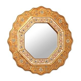 "Handmade Floral Gold Blue Red Glass Wall Mirror (Peru) - Metallic - 17.25"" x 17.25"""