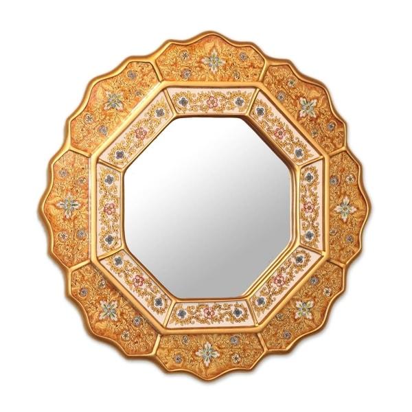 Handmade Golden Star Floral Wall Mirror (Peru)