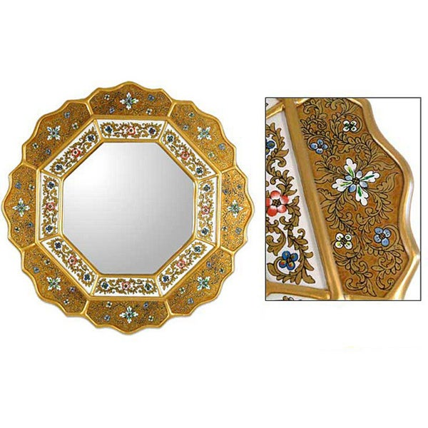 Golden Star Artisan Handmade Decor Hand-Painted Floral Gold Blue Red Accent Hall Bedroom Bathroom Glass Wall Mirror (Peru)