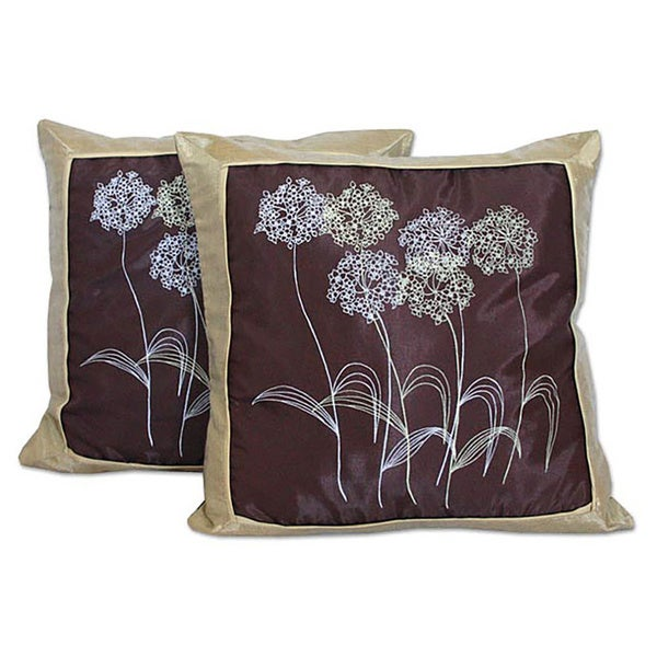 Shop Set Of Two Quiet Dandelions Silk And Cotton Cushion