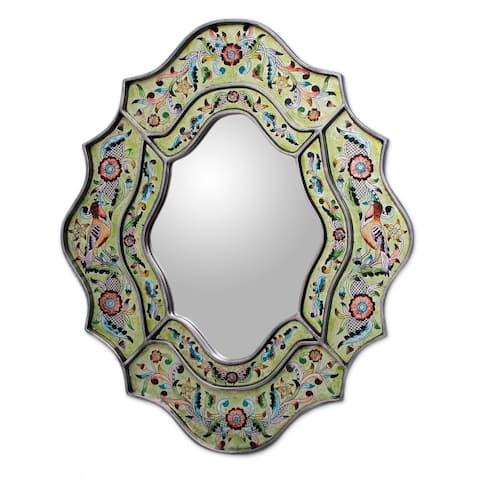 NOVICA Handmade Reverse Painted Verdant Spring Glass Mirror (Peru) - Green