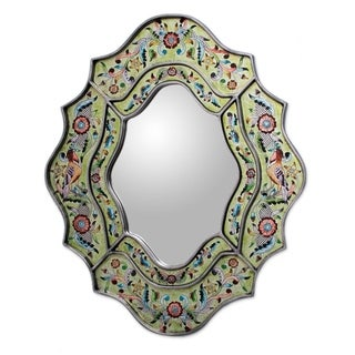 Handmade Reverse Painted Verdant Spring Glass Mirror (Peru) - Green
