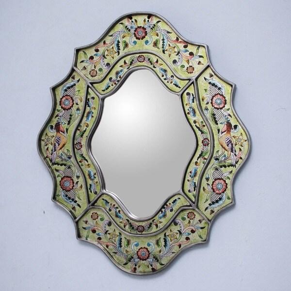 Verdant Spring Artisan Designer Reverse Painted Glass Handmade Flowers Birds Green Blue Yellow Red Accent Wall Mirror (Peru)
