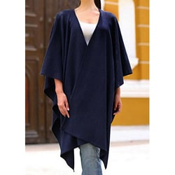 Navy Blue Chic Contemporay Warm Soft Acrylic Wool Alpaca Blend Open Front Cape Style Ruana Day to Night Womens Wrap (Peru)