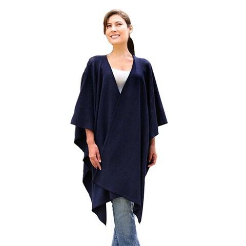 Handmade Navy Blue Chic Contemporay Warm Soft Acrylic Wool Alpaca Blend Ruana Day to Night Womens Wrap (Peru)