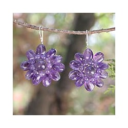 Handmade Sterling Silver 'Chrysanthemum' Amethyst Floral Earrings (Thailand)