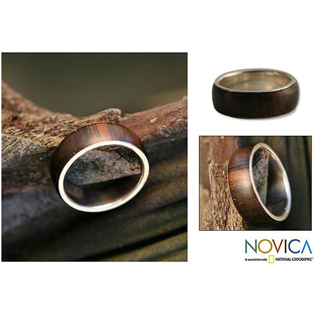 Sterling Silver 'Love Of Nature' Men's Wood Ring (Brazil)