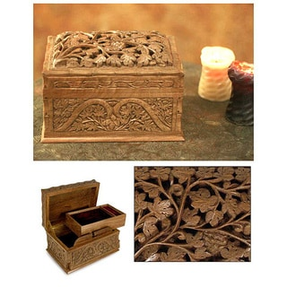 Handmade Walnut Wood Eden Tree Jewelry Box India Free Shipping
