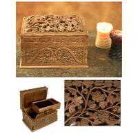 Handmade Walnut Wood 'Rampant Nature' Jewelry Box (India)