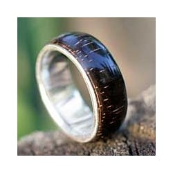 Love of Nature Mid Century Modern Polished Rosewood with 925 Sterling Silver Mens Band Ring - 7 (Brazil)