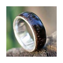 Handmade Love of Nature Mid Century Modern Polished Rosewood with 925 Sterling Silver Mens Band Ring - 7 (Bra https://ak1.ostkcdn.com/images/products/4787373/Wood-Love-of-Nature-Mens-Ring-Brazil-P12686144c.jpg?impolicy=medium