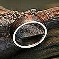 Handmade Love of Nature Mid Century Modern Polished Rosewood with 925 Sterling Silver Mens Band Ring - 7 (Bra