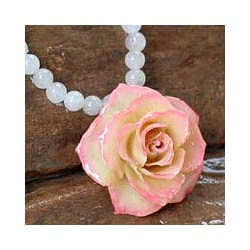 'Forever a Rose' Natural Rose and Quartz Flower Necklace (Thailand)