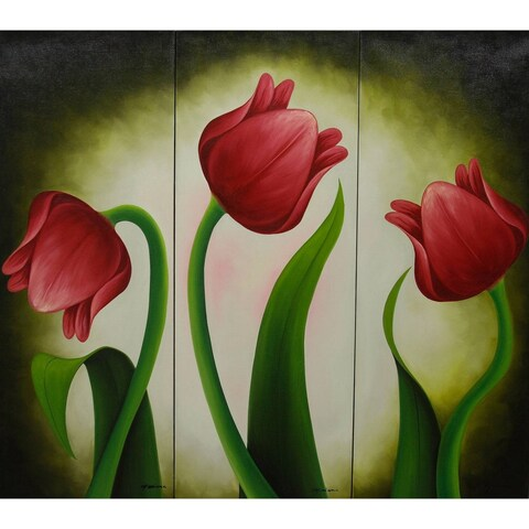 "Handmade creation painting Mariana Gonzalez ""Red Tulips"" Canvas Triptych beauty of Original Art (Mexico) - multi"