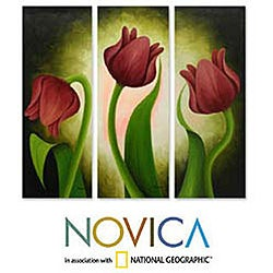 Handamde Mariana Gonzalez Red Tulips Canvas Triptych Original Art (Mexico)