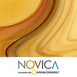 Amber Vortex Murano Style Decorator Art Work Sculptural Handblown Glass Centerpiece (Brazil) - Thumbnail 2