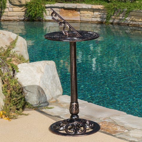31 x 13.75 Dia Sol Gold-finished Cast Aluminum Copper Sun Dial by Christopher Knight Home