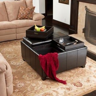 Dartmouth Black Bonded Leather Four-section Cube Storage Ottoman by Christopher Knight Home
