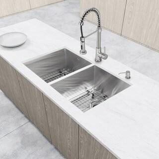 VIGO Undermount Stainless Steel Kitchen Sink Faucet/Dispenser