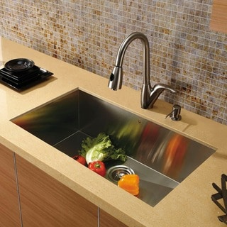 "VIGO All-In-One 32"" Ludlow Stainless Steel Undermount Kitchen Sink Set With Romano Faucet"