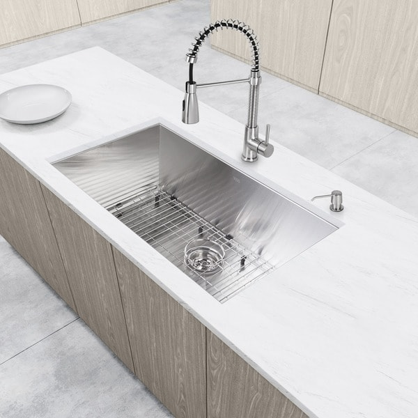 Vigo All In One 32 Ludlow Stainless Steel Undermount Kitchen Sink Set With Brant Faucet Free