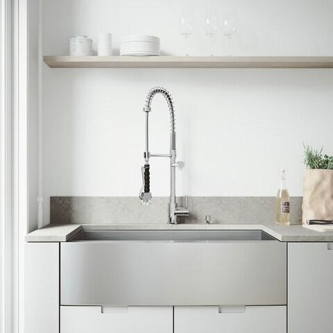 """VIGO All-In-One 36"""" Camden Stainless Steel Farmhouse Kitchen Sink Set With Zurich Faucet"""