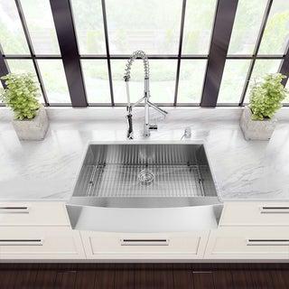 VIGO Farmhouse Stainless Steel Kitchen Sink Faucet and Dispenser