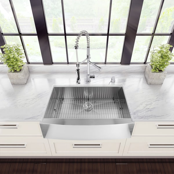 Medium image of vigo all in one 36 u201d camden stainless steel farmhouse kitchen sink set with