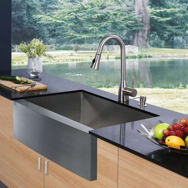"""VIGO All-In-One 30"""" Camden Stainless Steel Farmhouse Kitchen Sink Set With Aylesbury Faucet In Stainless Steel"""