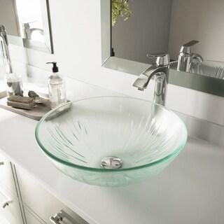 VIGO Icicles Glass Vessel Sink and Chrome Faucet Bathroom Set