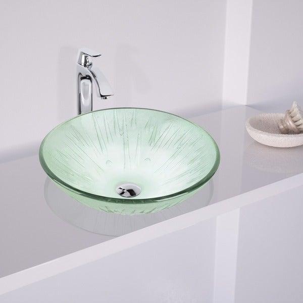 VIGO Icicles Glass Vessel Sink and Faucet Bathroom Set in Chrome ...