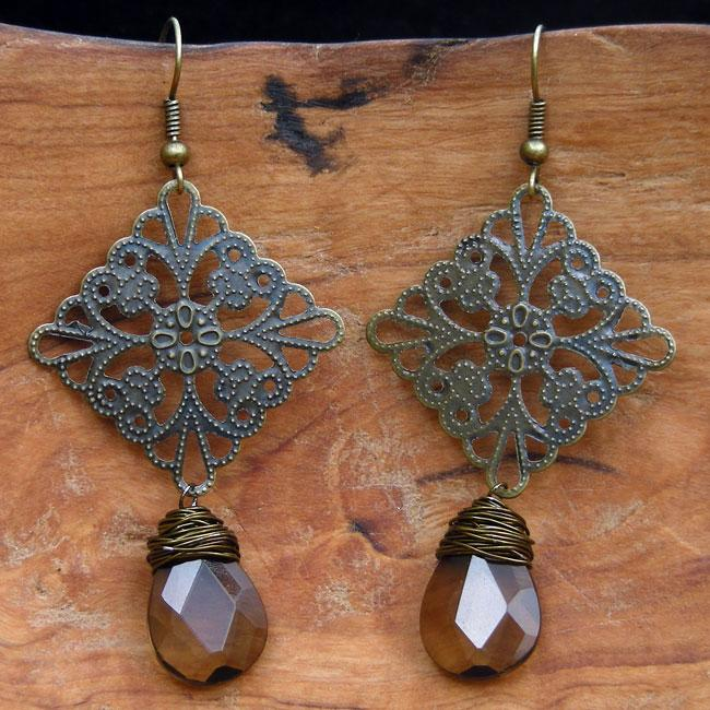 Delicate Filigree and Wrapped Glass Raindrop Earrings (China)