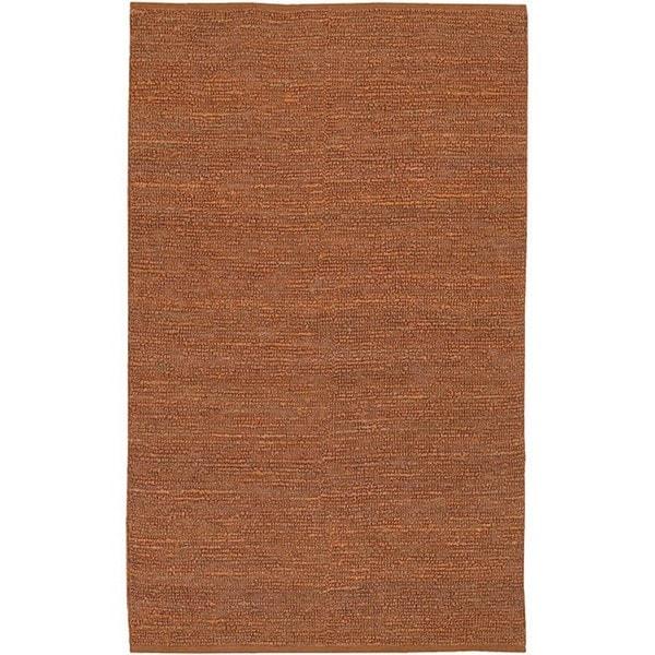 Hand-woven Chapra 2-piece Orange Jute Rug Set (2' x 3')