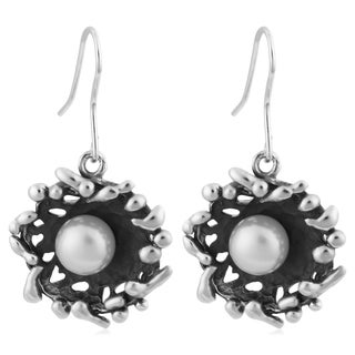 Sterling Silver 'Nest' Freshwater Pearls Earrings (6 mm) (Thailand)