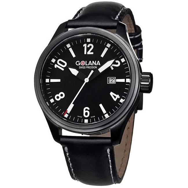 Golana Swiss Men's 'Terra Pro 100' Steel and Leather Quartz Watch