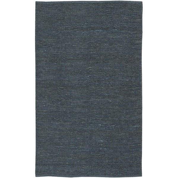 Hand-woven Chapra Blue Natural Fiber Jute Rug (8' x 11')