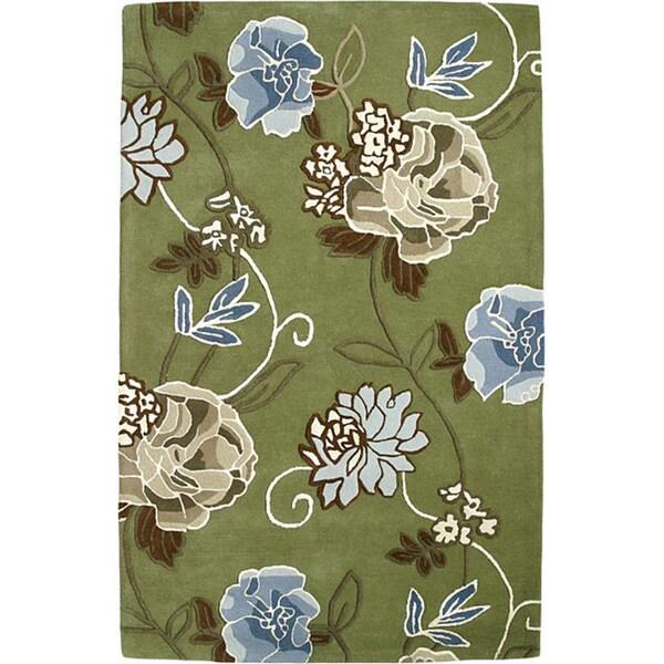 Handmade Aurora Rose Garden Green Wool Rug (4' x 6')