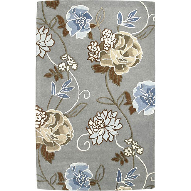 Shop Handmade Aurora Rose Garden Steel Grey Wool Rug 5