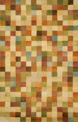 Hand-tufted Squares Pastel Wool Rug (5' x 8') - Thumbnail 1