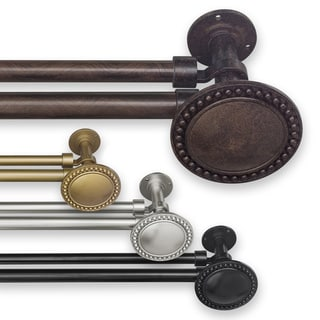 Pinnacle Adjustable Double Curtain Rod Set with Beaded Finial
