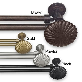Pinnacle Adjustable Double Curtain Rod Set with Shell Finial