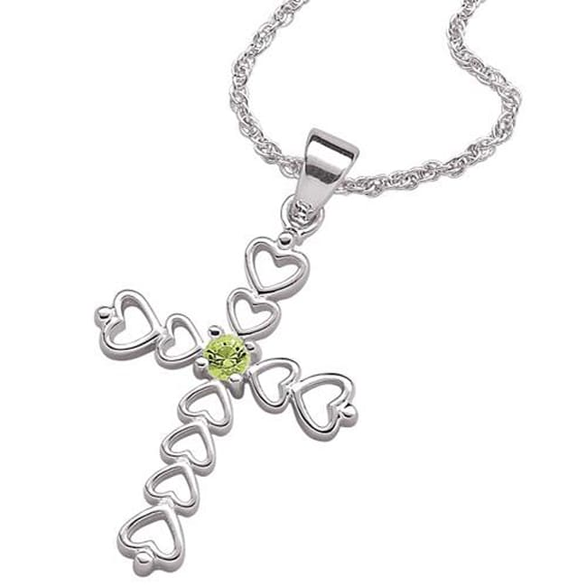 Sterling Silver Austrian Crystal Birthstone Heart Cross Pendant