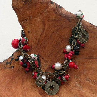 Handmade Cloisonne and Coin Charm Bracelet (China)