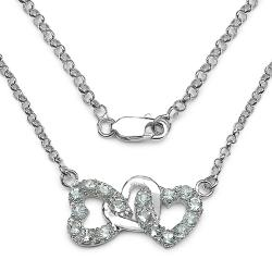 Malaika Sterling Silver Aquamarine Heart Link Necklace
