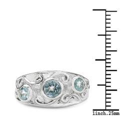 Malaika Sterling Silver Blue Topaz 3-stone Filigree Design Ring - Thumbnail 2