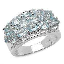 Malaika Sterling Silver Blue Topaz and Diamond Accent 3-row Ring