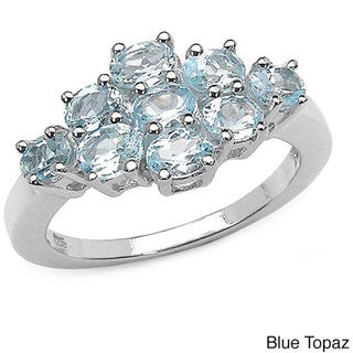 Malaika Sterling Silver Oval-cut Blue Topaz or Yellow Sapphire Ring