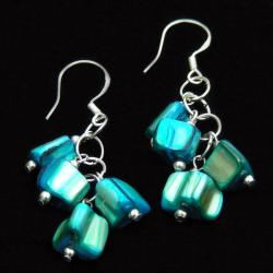 Sterling Silver Blue Mother of Pearl Cluster Earrings (China) - Thumbnail 1