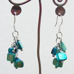 Sterling Silver Blue Mother of Pearl Cluster Earrings (China) - Thumbnail 2